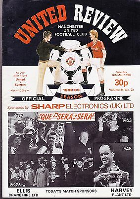 Manchester United Vs. Everton Football Programme 12 March 1983 FA Cup 6th Round