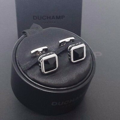 NWT. Duchamp London =CRYSTAL CUSHION JET=  Cufflink