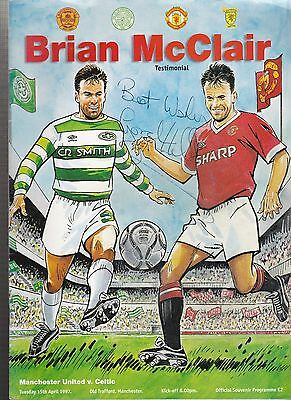 Manchester United Vs. Celtic Programme Brian McClair Testimonial 1997 - SIGNED
