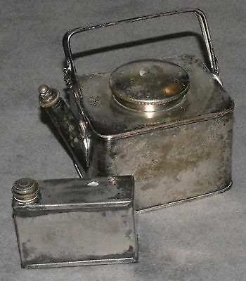 Vintage Silver Plated Kettle Automobilia Officers Campaign Picnic Basket 353522!