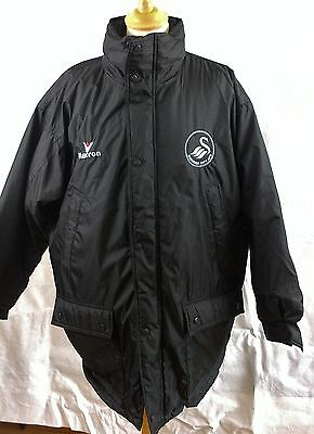 Swansea City AFC Football supporters coat jacket hooded  Black Macron size SMALL