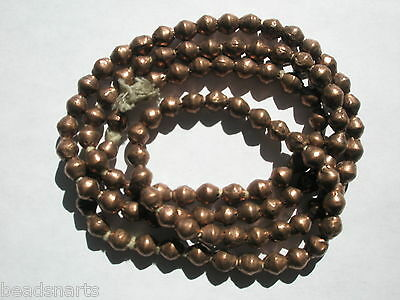 """African Handcrafted  Copper Bicone shaped  Beads - 7x7mm - 33"""" Strand"""