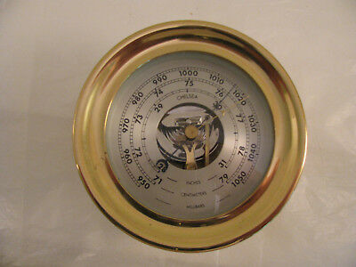 Vintage Chelsea ship's barometer in brass case with silvered dial