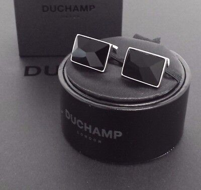 NWT. Duchamp London EXCLUSIVE = XL JET CRYSTAL =  Cufflink. Made in England.