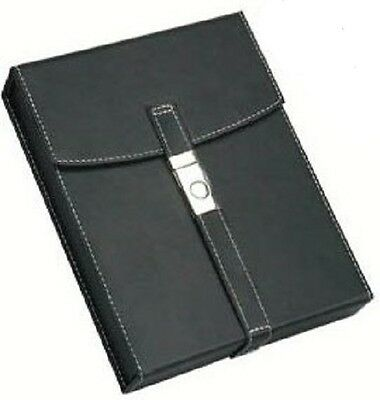 MONZA 10 ~ Black Leather Travel Cigar Humidor w-White Stitiching & Secure Latch