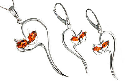 925 Sterling Silver Cats Set Earrings Pendant Cat Baltic Amber Jewellery +Chain
