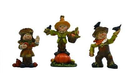 Fairy Garden Mini - Fall Scarecrow Friends - Set of 3