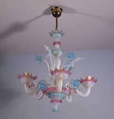 Vintage Murano Glass Chandelier/Hanging Lamp