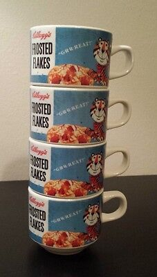 Set of 4 - Vintage Kellogg's 2008 Stackable Mugs Frosted Flakes Tony the Tiger