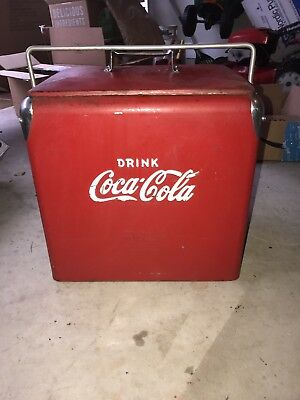 Vintage Coca Cola Metal Cooler With Tray Bottle Opener And Spigot