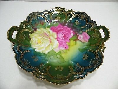 Vintage Hand Painted Double Handle Cake Plate Yellow Pink Roses Gold Trim Irene