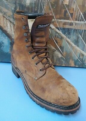 IRON AGE Distressed Leather Brown Steel Toe Work Safety Boots Men's Sz 11M