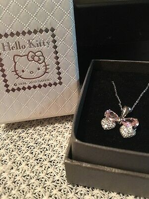 NIB Hello Kitty Necklace in Silver and Pink Ribbon Bow