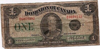 1923 Canada Large Note One Dollar Banknote