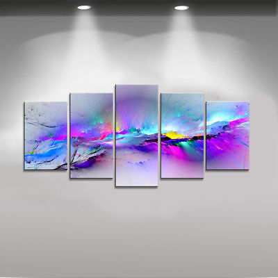 Modern Abstract Wall Decor Art Print on Canvas Painting Pic Purple Colors Framed