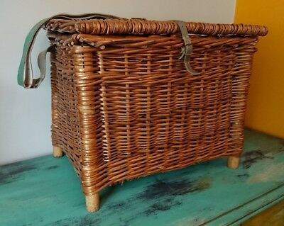SMALL Rustic Vintage Wicker Fishing Basket/Creel Tackle Storage Box/Hamper old