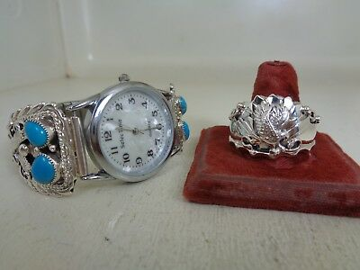 Eagle Watch Tips With Watch & Ring Size 14.25 With Turquois Running Bear - RB