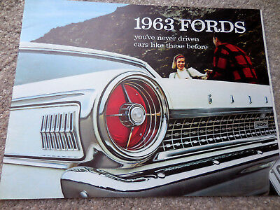 Original 1963 Ford Full-line 16 page brochure catalog, mint RARE edition