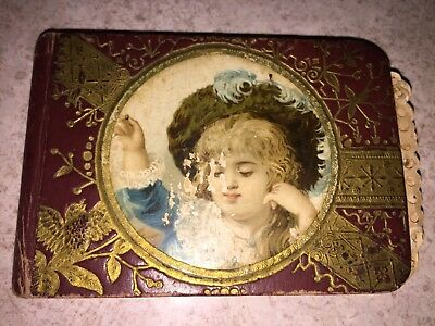 Victorian 1800's Antique AUTOGRAPH / ANNOUNCEMENT CARD Book Embossed Cover