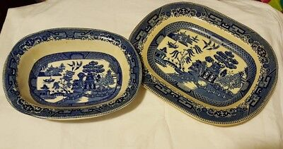 Two Antique Buffalo Pottery Blue Willow Platter & Bowl marked 1911 Semi-vitreous