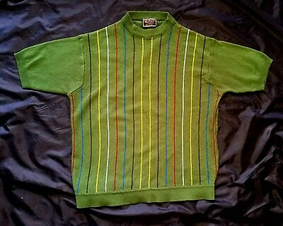 VTG 60s MOD CALMATES GREEN FRONT STRIPED ACRYLIC KNIT CREW NECK SHIRT L MAD MEN