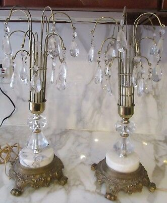 Art Deco Crystal Waterfall Lamps With Prisms Pair
