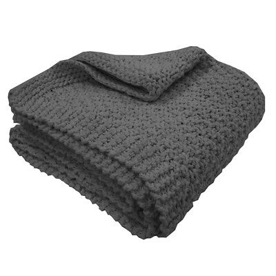 Overseas Blanket Throw Sofa Sette Bedspread Cover Knitted 130x150 cm Anthracite