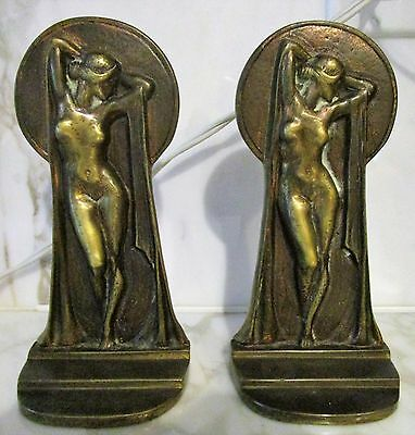 Antique Art Deco Nude Female Bookends Bronze Jeanne Drucklieb, Venus,
