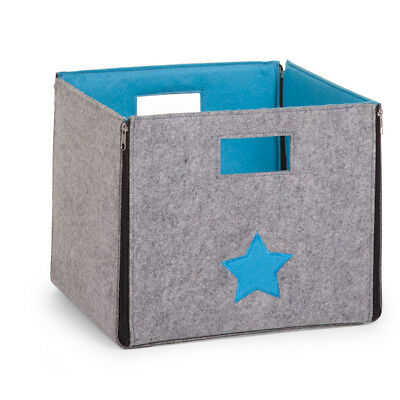 CHILDWOOD Kids Children Foldable Storage Box Star Grey and Turquoise CCFSBST