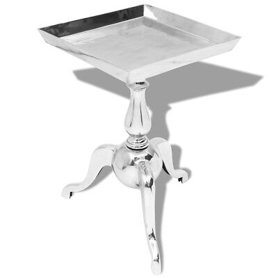 vidaXL Side End Accent Coffee Table Stand Bedroom Rack Square Aluminium Silver