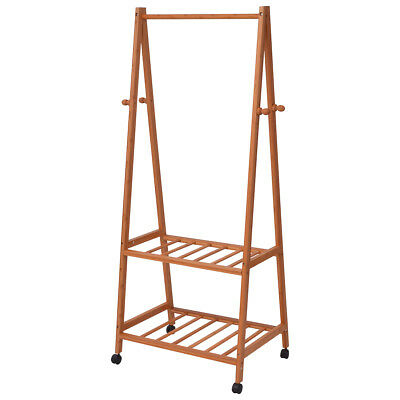 vidaXL Clothing Garment Hanging Rack Rail 2 Shelves 4 Hooks Bamboo 4 Castors