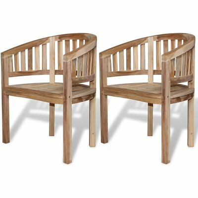 2 pcs Modern Teak Banana Chairs Seats with Armrests Patio Outdoor Furniture