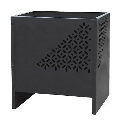 RedFire Fire Pit Fireplace Heater Warmer Stove Mesa Square Black Steel 85017