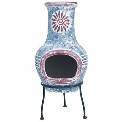 RedFire Fireplace Heater Stove Warmer Outdoor Colima Clay Sea Blue/Red 86031