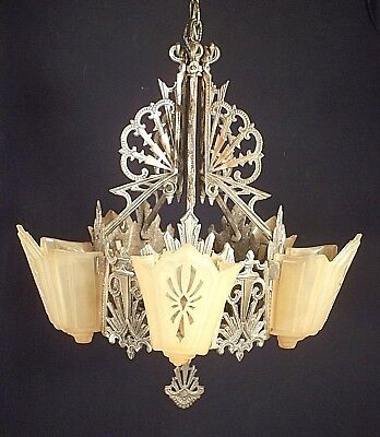 Antique Art Deco Art Nouveau 5 Light Slip Shade Patinated Metal Chandelier