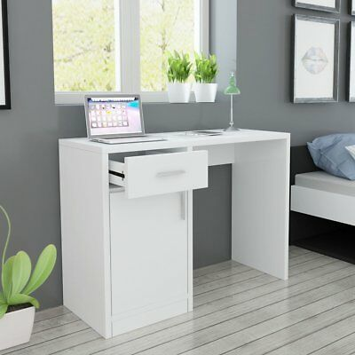 Desk with Drawer and Cabinet Home Office Computer Table White 100x40x73 cm