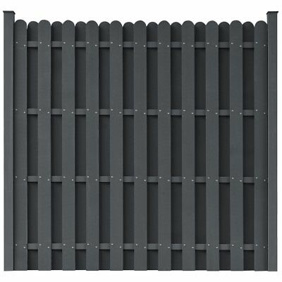 WPC Fence Panel Garden Barrier Residential Privacy Square Grey with 2 Posts
