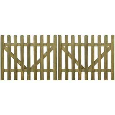 2 pcs Wooden Picket Fence Gate Impregnated Pinewood Garden Farm Field Fencing