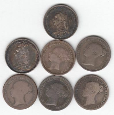 Lot of 7 British Silver 6 Pence (1856,'79,'85,'86,'87,'89,'90)..99 cents...NR!