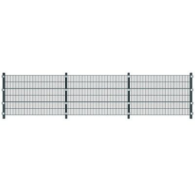 Garden Fence Security Panel Railing Boarder with Posts Iron Metal Grey 6 x 1,2 m