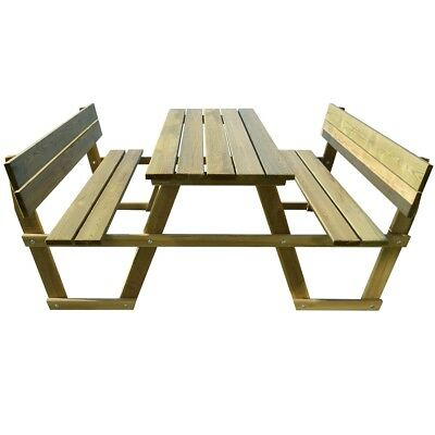 Impregnated Pinewood Wooden Camping Picnic Table with Backrest Chair Bench Set