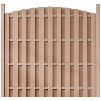 WPC Fence Panel Garden Barrier Residential Privacy Round Brown with 2 Posts