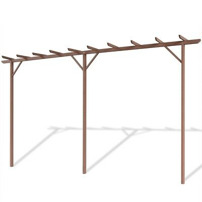 WPC Garden Pergola Shade Frame Plant Support Outdoor Yard with 3 Posts Brown