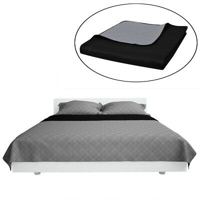 Double-sided Quilted Bedspread Comforter Microfibre Cotton Black/Grey Bedroom