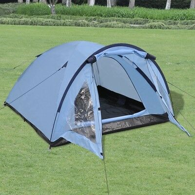 3-person Outdoor Festival Camping Hiking Tent Waterproof with Storage Bag Blue