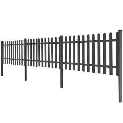 WPC 3 pcs Garden Terrace Picket Fence Barrier 6 m Long 80 cm High Grey with Post