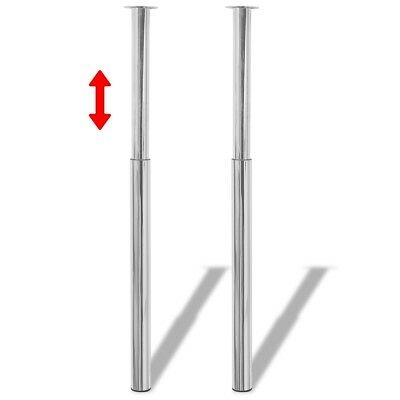 2 Telescopic Spare Table Legs Feet Chrome 710-1100 mm Breakfast Bar Worktop Desk