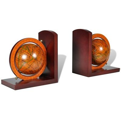 New Home Office Bookstand World Map Globe Bookend Classic Wood Base A Pair