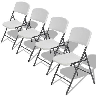4 pcs Foldable Folding Garden Chairs Seat Stool Outdoor Furniture HDPE White