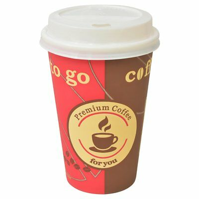 vidaXL 1000 pcs Disposable Coffee Cups with Lids 12 oz Takeaway Party Festival